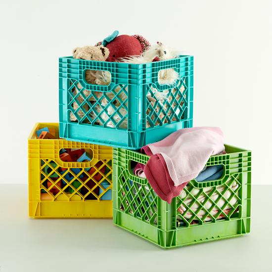 Kids storage colorful milk crates for kids the land of nod for What to do with milk crates