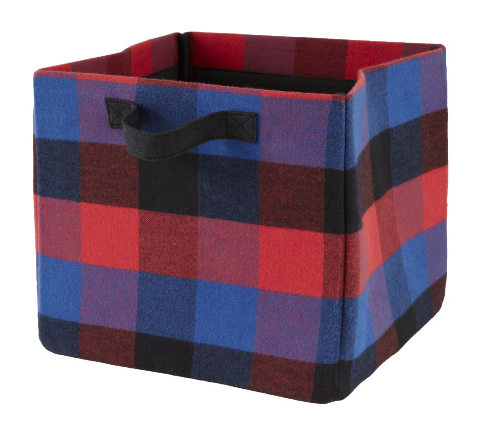 Buffalo Check Cube Bin (Red)