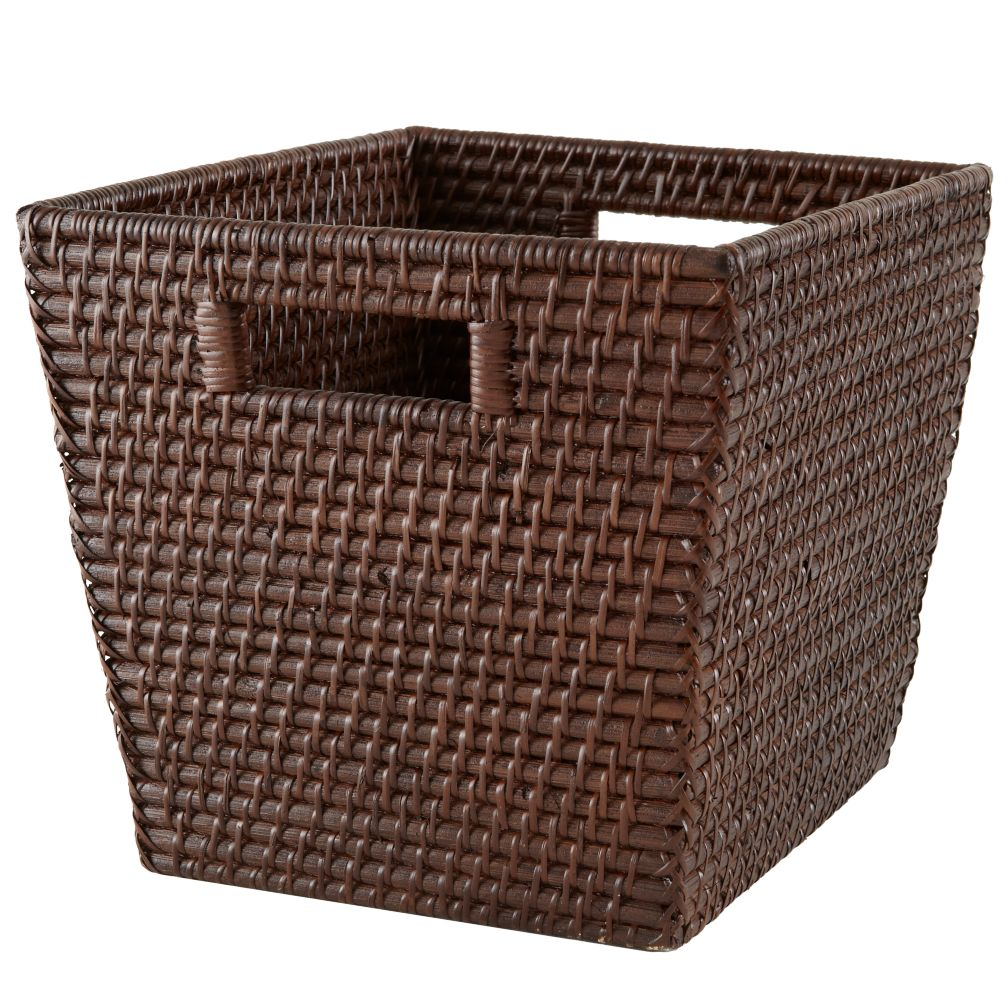 Rattan Cube Basket (Espresso)