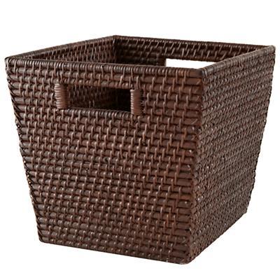 Rattan Cube Basket (Espresso)