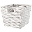 White Rattan Cube Basket