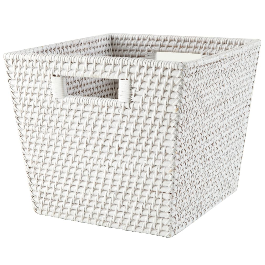 Rattan Cube Basket (White)