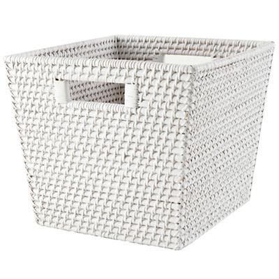 Rattan Cube Basket (White)