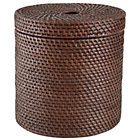 Espresso Rattan Round Floor Basket