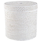 White Rattan Round Floor Basket