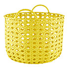Yellow Lattice Woven Floor Bin