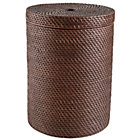 Espresso Rattan Hamper w/Lid