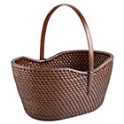 Espresso Rattan Traditional Basket w/ Handle