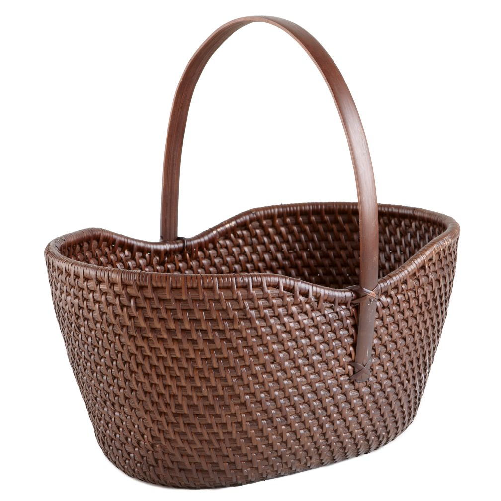 Rattan Basket with Handle (Espresso)