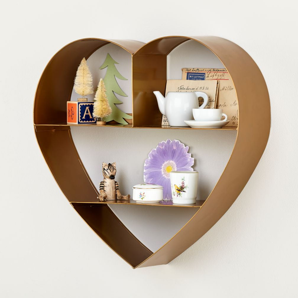 Heart of Gold Metal Wall Shelf