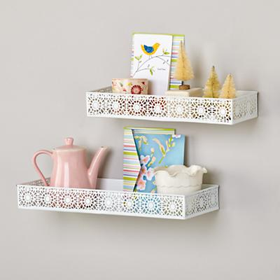 White Chantilly Wall Shelves (Set of 2)