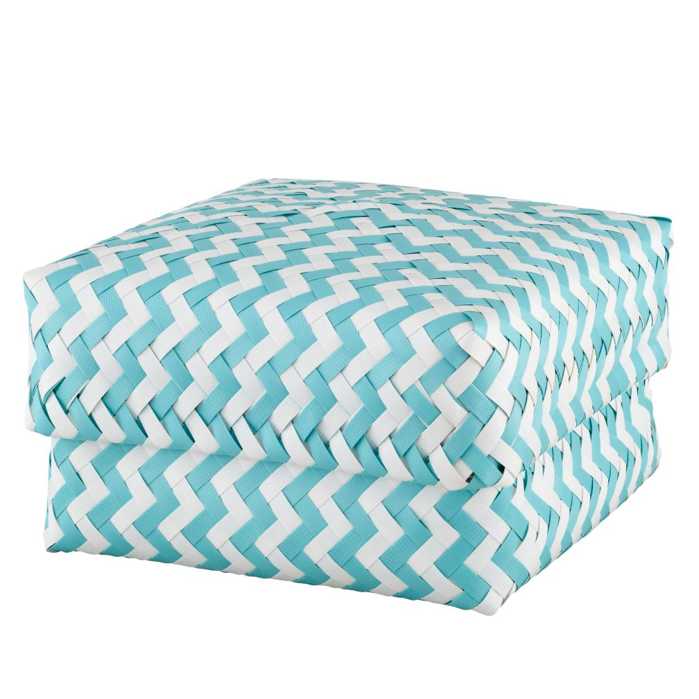 Large Zig Zag Basket (Aqua)