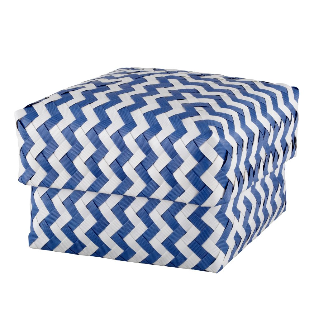 Medium  Zig Zag Basket (Blue)