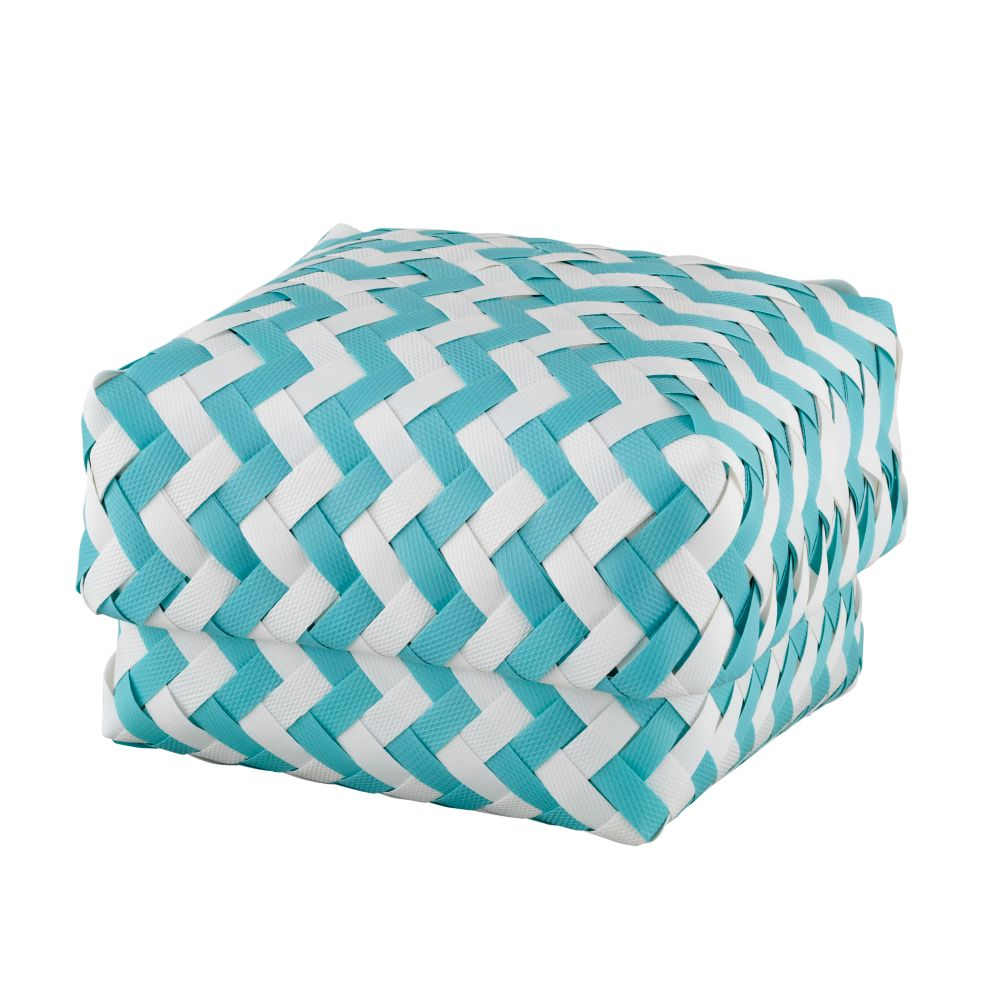 Small Zig Zag Basket (Aqua)