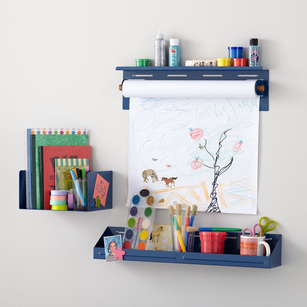 Up Against the Wall Shelf, Bin and Paper Holder (Blue)