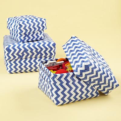 Zig Zag Strapping Baskets (Blue)