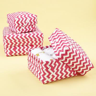Small Zig Zag Strapping Basket (Pink)