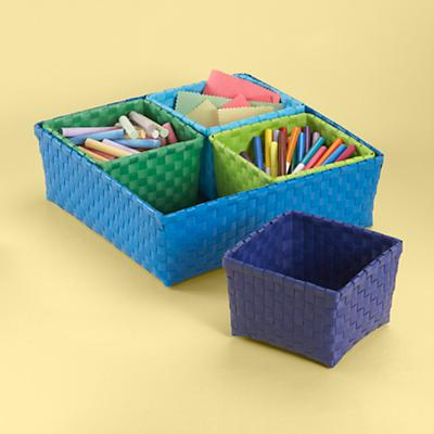 Blue 4 Bin Strapping Storage Set