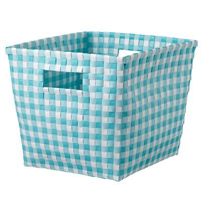 Gingham Cube Bin (Aqua)