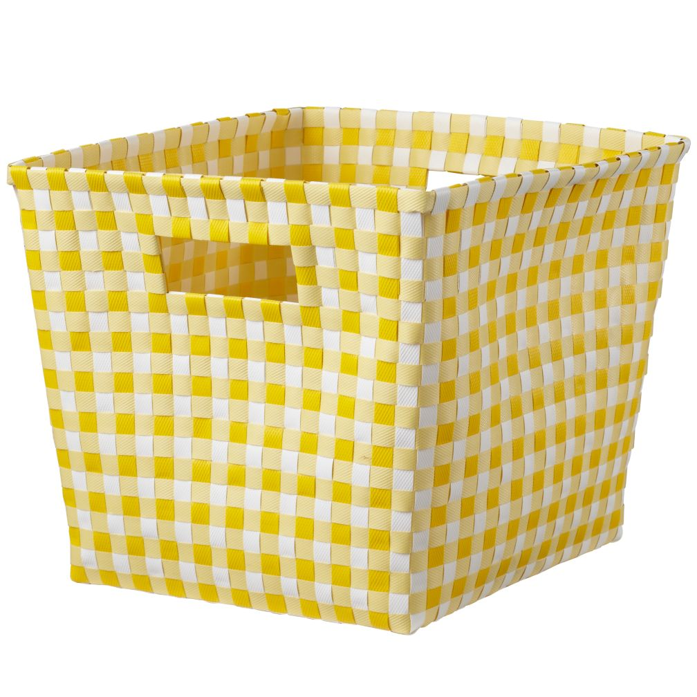 Gingham Cube Bin (Yellow)