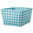 Aqua Gingham Shelf Bin