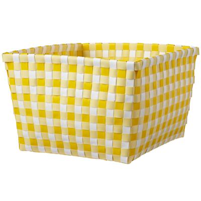 Gingham Shelf Bin (Yellow)