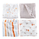 Orange Swaddling Blanket Set: Multi Stripe, Star, Grey, Multi Animal