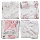 Pink Swaddling Blanket Set: Bird, Snowflake, Multi Stripe, Owl