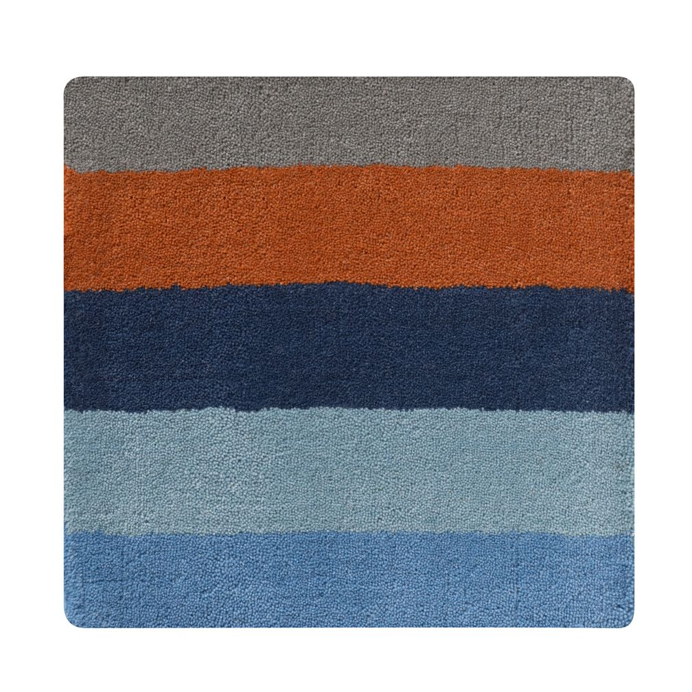 Bold Stripe Bold Stripe Rug Swatch (Blue-Orange)