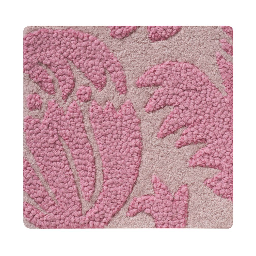 Pink Raised Floral Rug Swatch