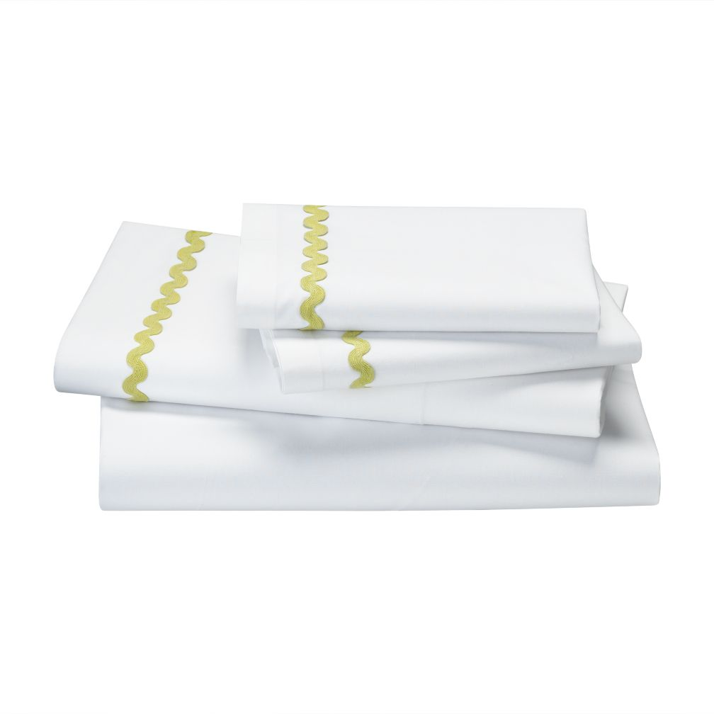 Queen Green Ric Rac Sheet Set