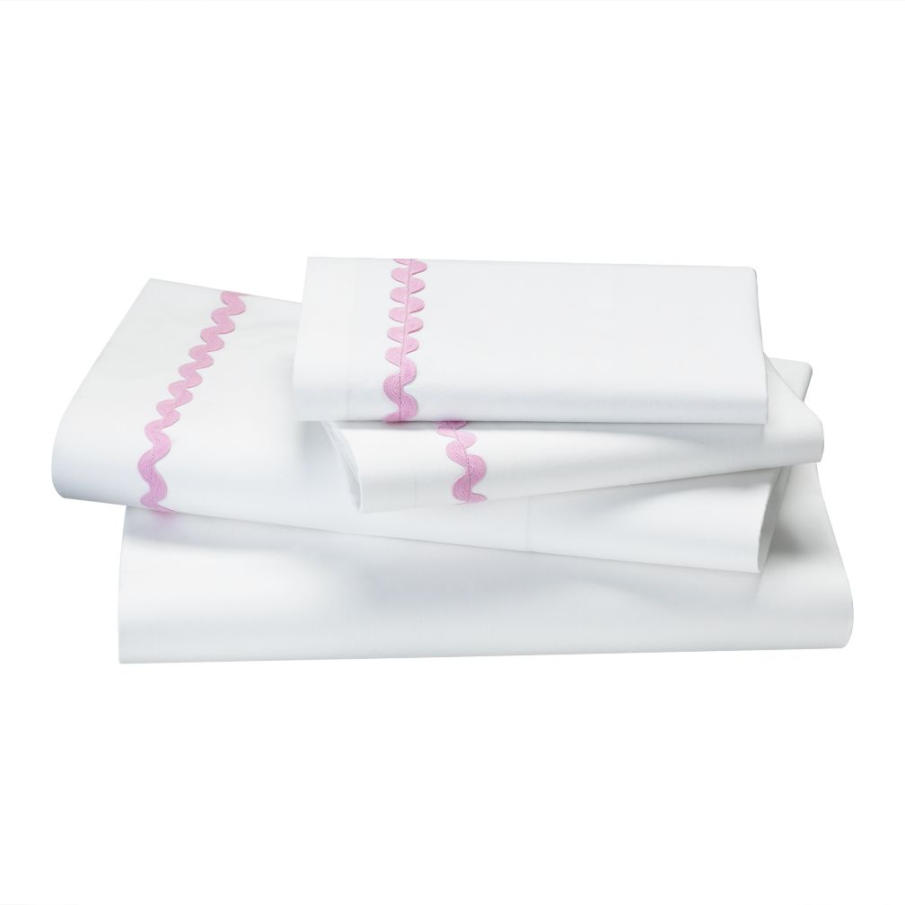 Queen Pink Ric Rac Sheet Set