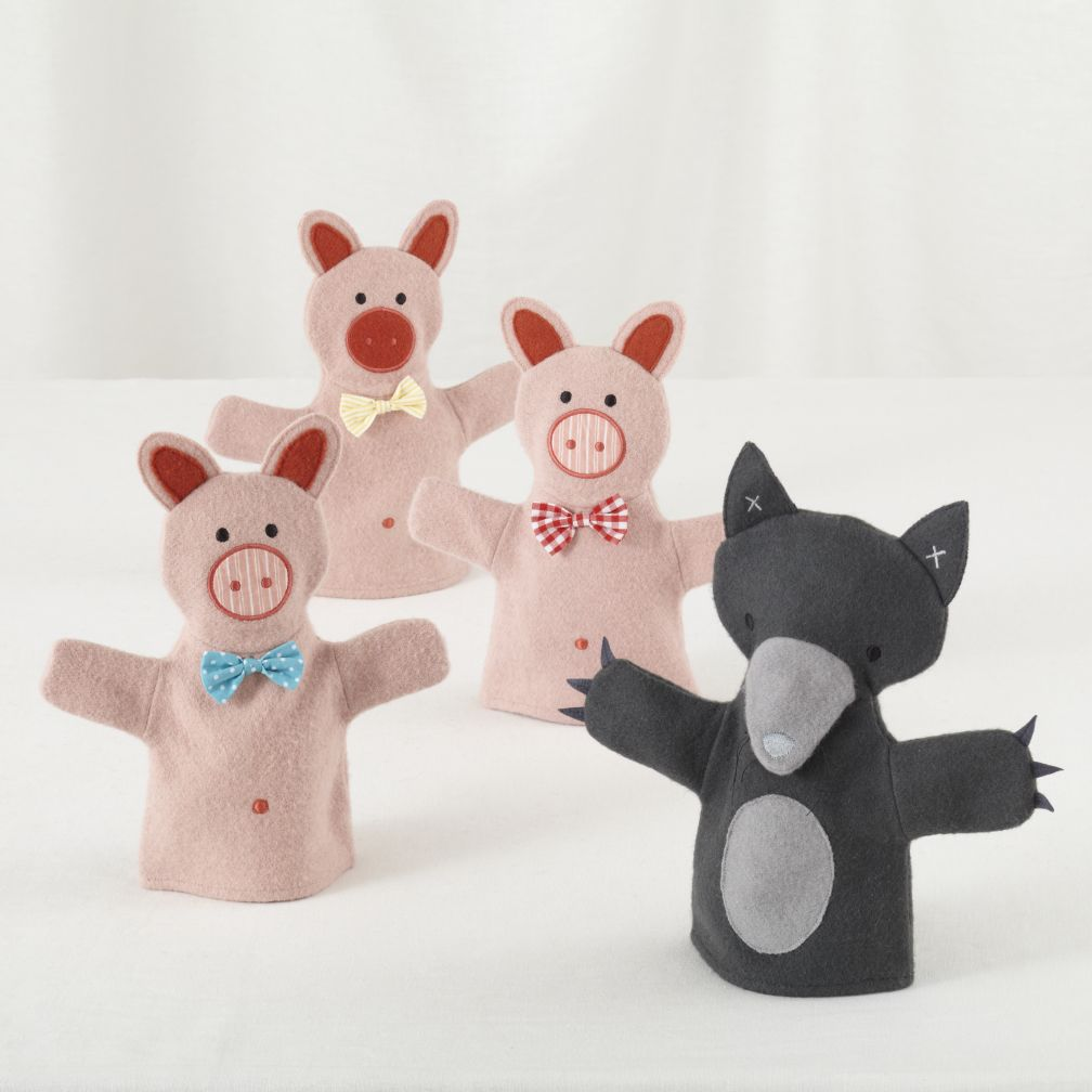 Three Little Pigs Hand Puppets (Set of 4)