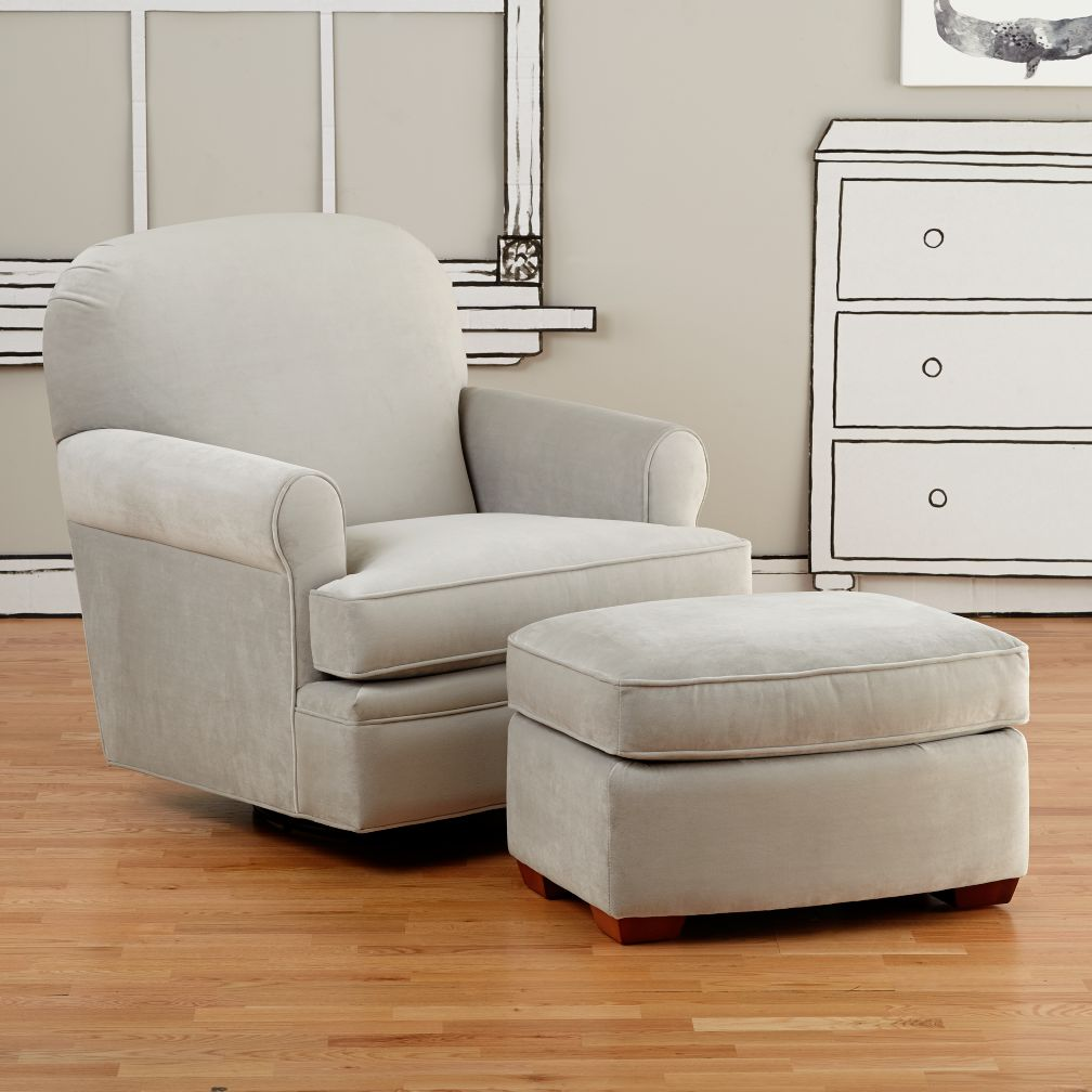 Dylan Swivel Glider & Ottoman (View Grey)