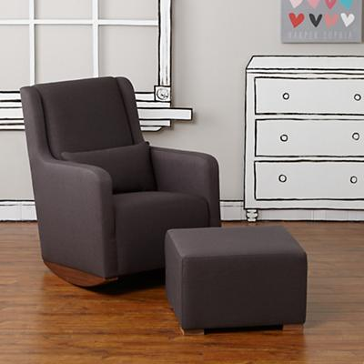 Marley Rocking Chair & Ottoman (Dk. Grey)