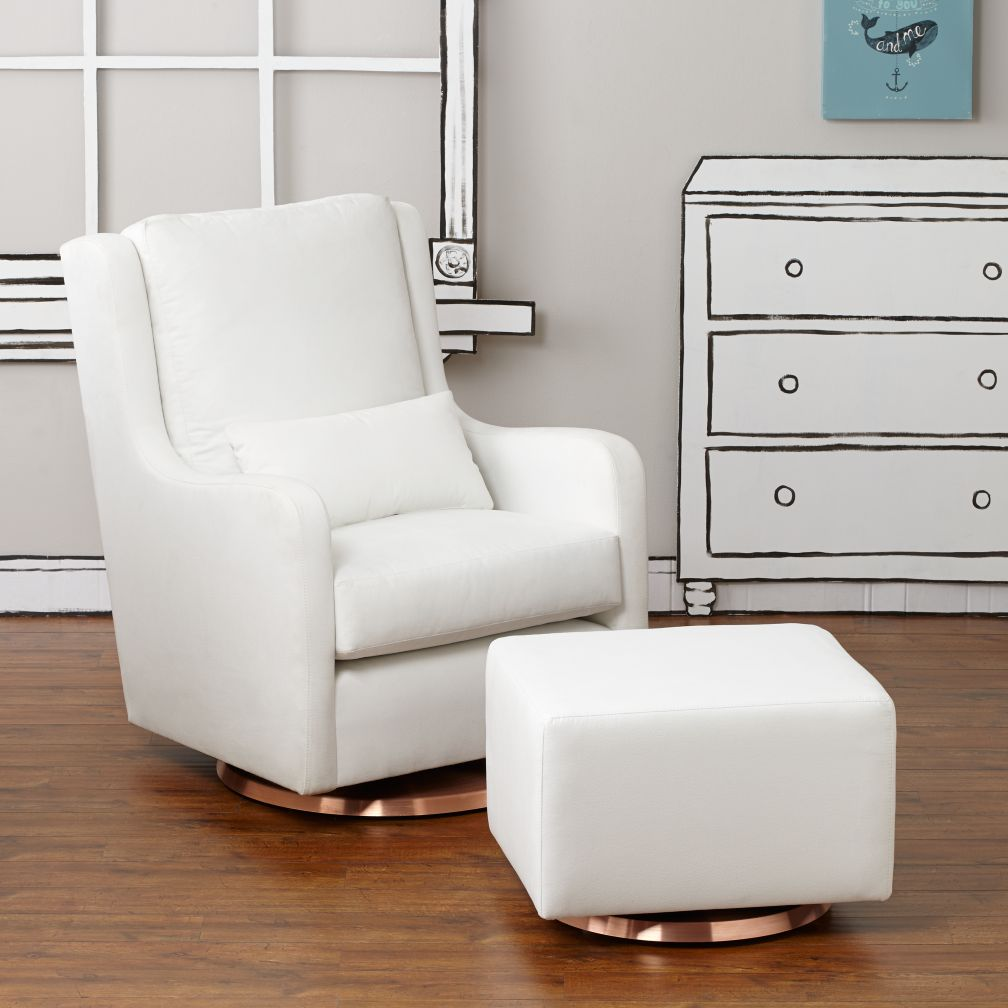 Milo Glider & Ottoman (White w/Copper Base)