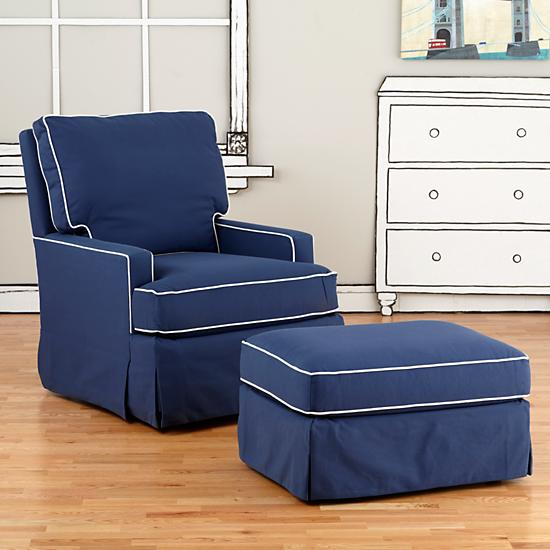 Baby rocker quotes for Navy blue chair and ottoman