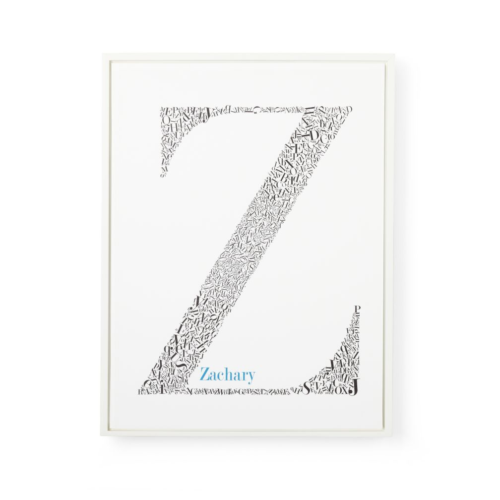 Alphabet Soup Personalized Wall Art (White Frame w/ Blue Font)
