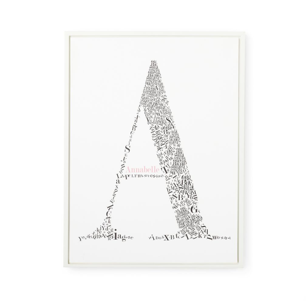 Personalized Alphabet Soup Wall Art (Pink Font w/White Frame)