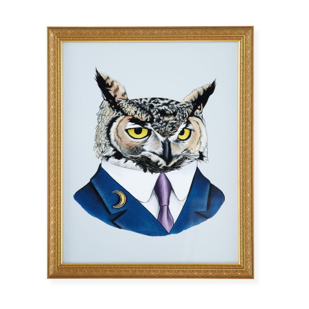 Painted Masterbeasts Framed Wall Art (Owl)