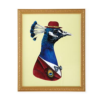 Painted Masterbeasts Framed Wall Art (Peacock)