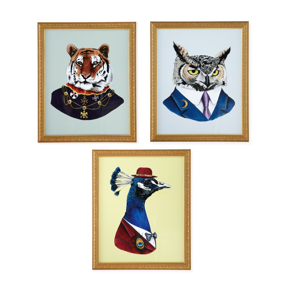 Painted Masterbeasts Wall Art (Set of 3)