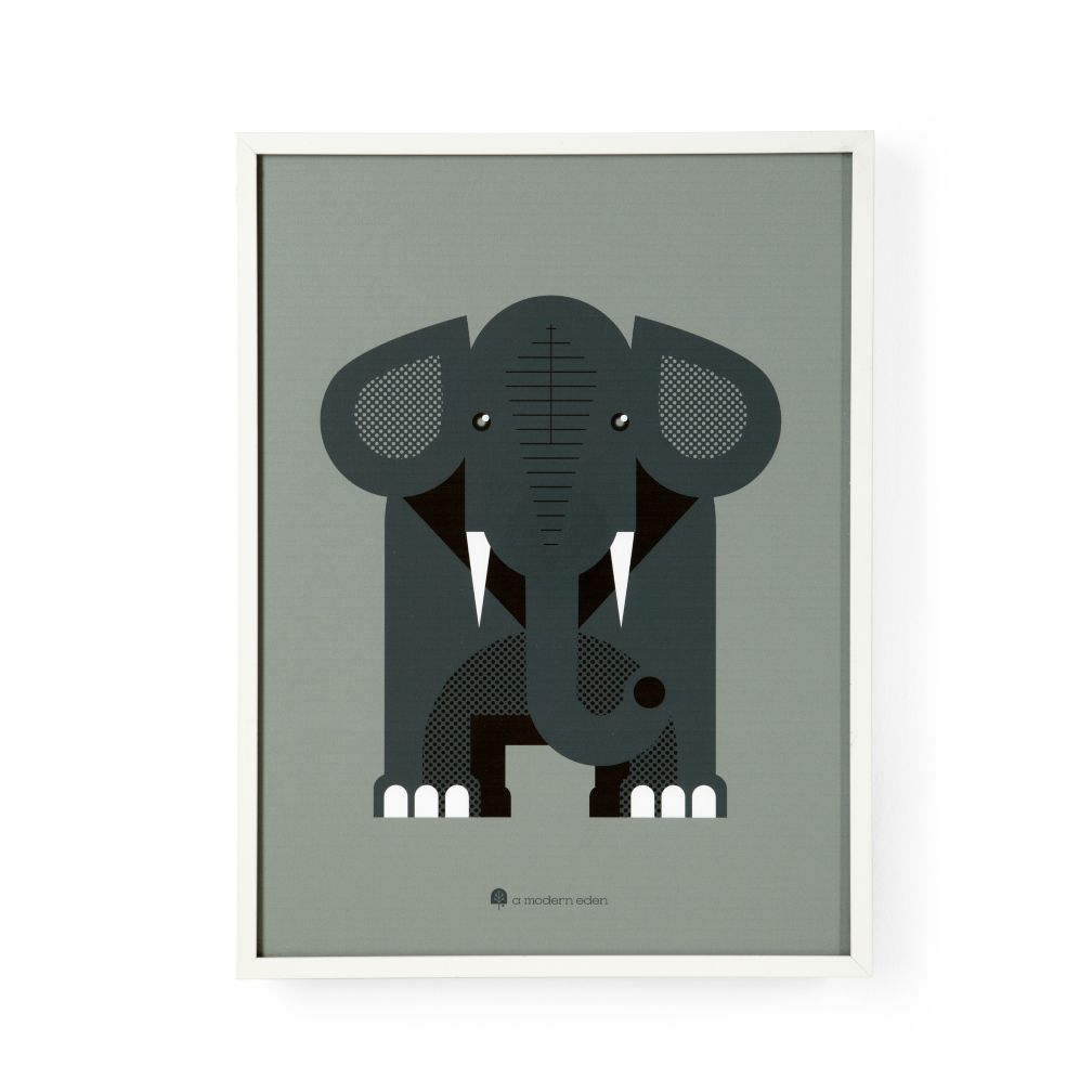 Modern Menagerie Framed Wall Art (Elephant)