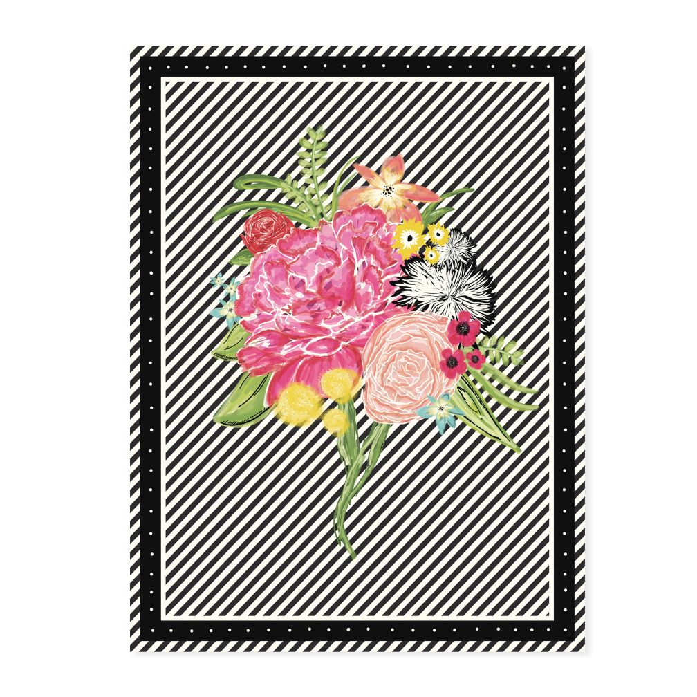 Floral Pop Black & White Canvas Wall Art
