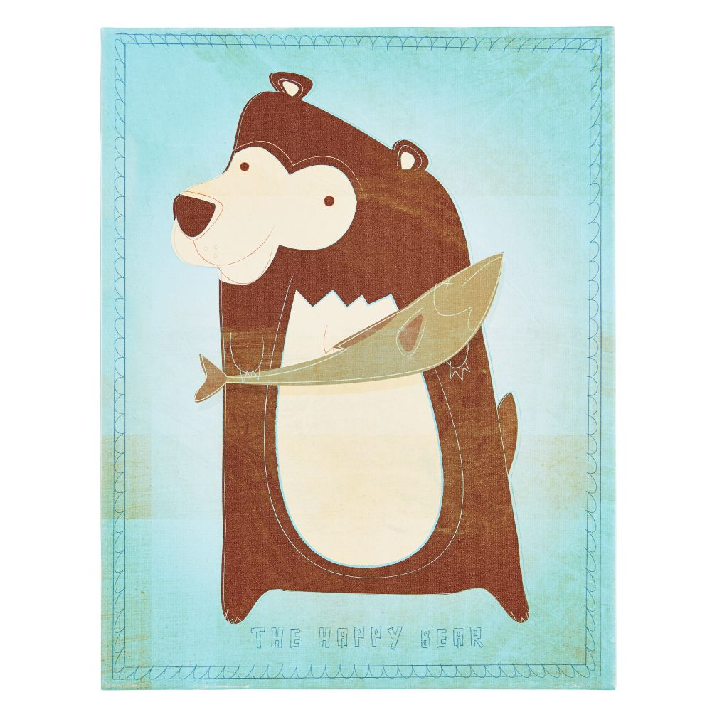 Animal Canvas Wall Art (Happy Bear)