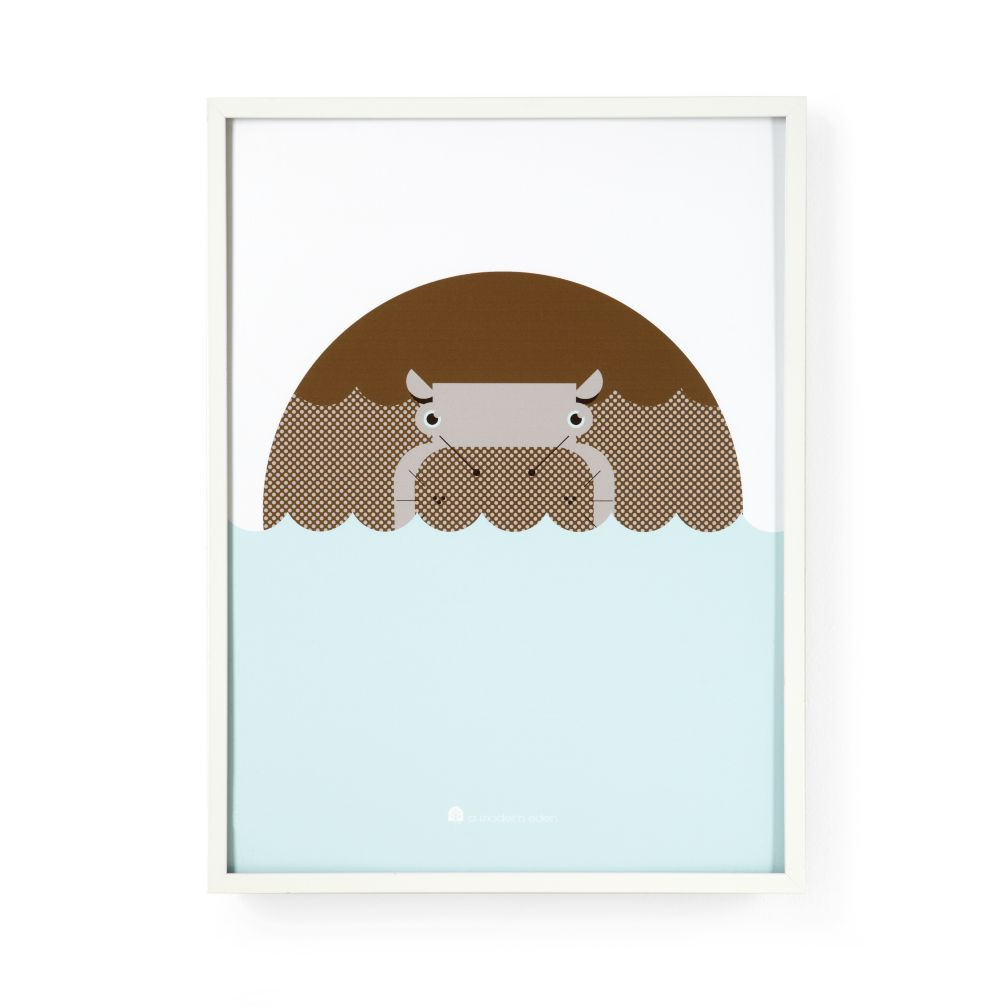 Modern Menagerie Framed Wall Art (Hippo)