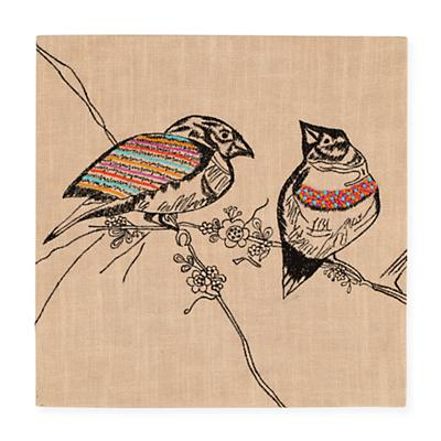 Exotic Embroideries Jute Wall Art (Birds)