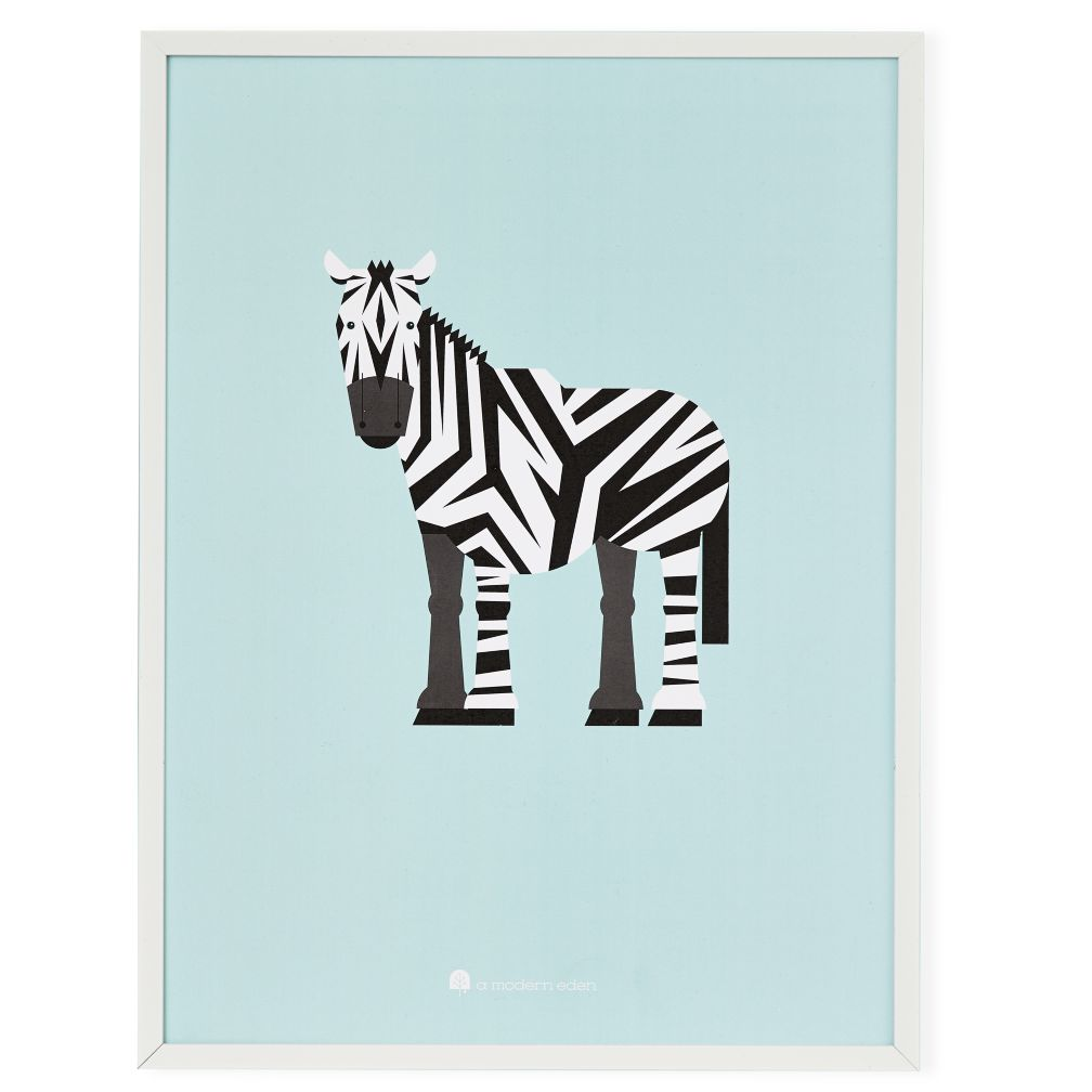 Modern Menagerie Framed Wall Art (Zebra)