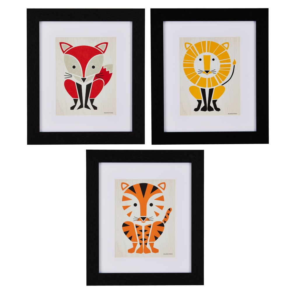 Primary Instinct Framed Wall Art (Set of 3)
