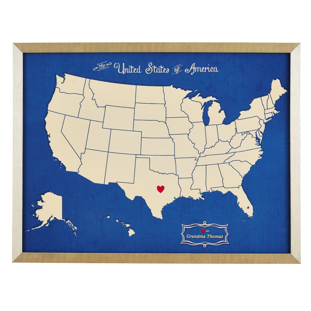 Where the Heart Is Personalized Wall Art (Blue)